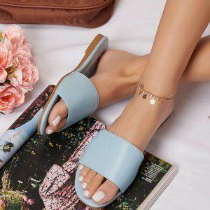 Blue Vegan Leather Slip-On Almond Toe Sandals
